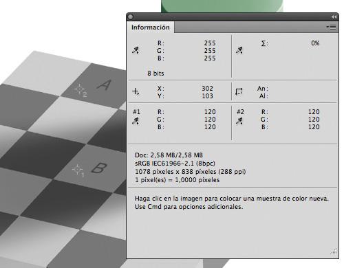Dos píxeles de los casilleros A y B, valores RGB idénticos