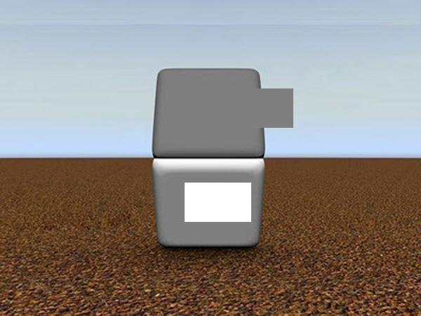 Parte del botón inferior transladada por sobre el botón superior